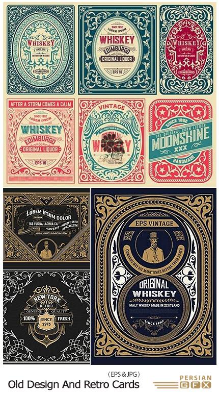 دانلود تصاویر وکتور کارت های تزئینی قدیمی - Old Design And Retro Cards