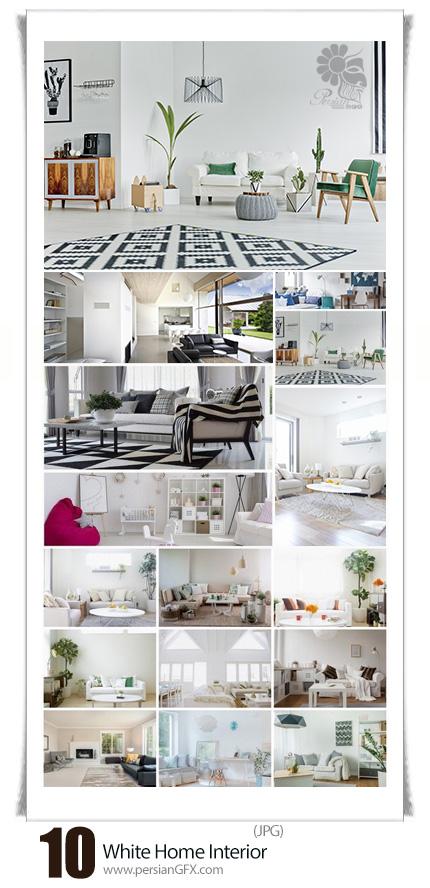 دانلود تصاویر با کیفیت طراحی داخلی سفید خانه، آشپزخانه و اتاق خواب - Modern Home Interior Of White Bedroom Kitchen Bathroom