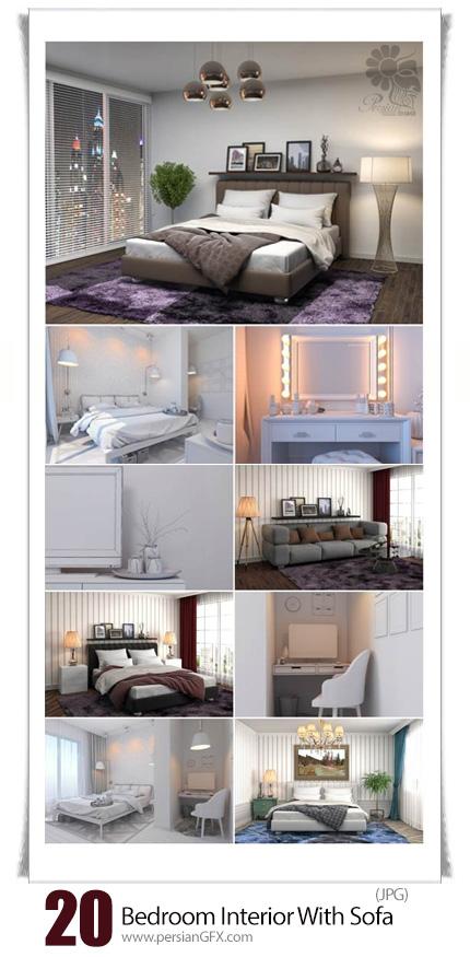 دانلود تصاویر با کیفیت طراحی داخلی سه بعدی اتاق خواب با مبلمان - Bedroom Interior With Sofa 3D Illustration
