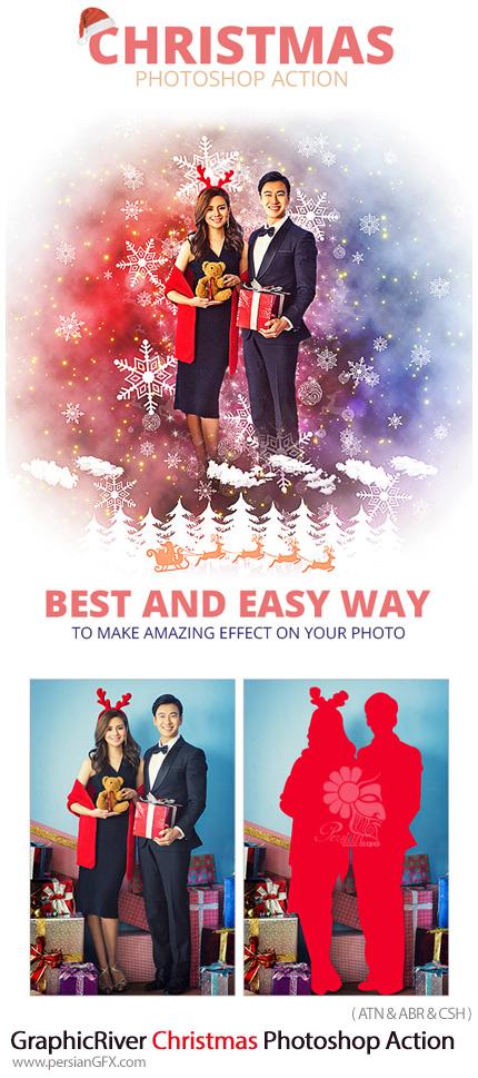 دانلود اکشن فتوشاپ ایجاد افکت کریسمس بر روی تصاویر از گرافیک ریور - GraphicRiver Christmas Photoshop Action