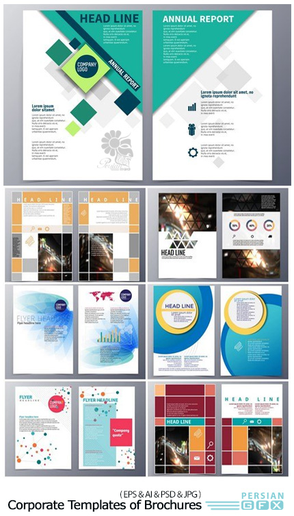 دانلود تصاویر وکتور قالب آماده بروشورهای تجاری - Corporate Templates of Brochures