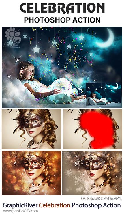 دانلود اکشن فتوشاپ ایجاد افکت دانه های برف و عناصر تزئینی بر روی تصاویر به همراه آموزش ویدئویی از گرافیک ریور - GraphicRiver Celebration Photoshop Action