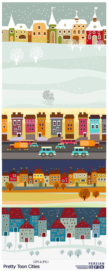 دانلود تصاویر وکتور شهرهای کارتونی زیبا - Pretty Toon Cities