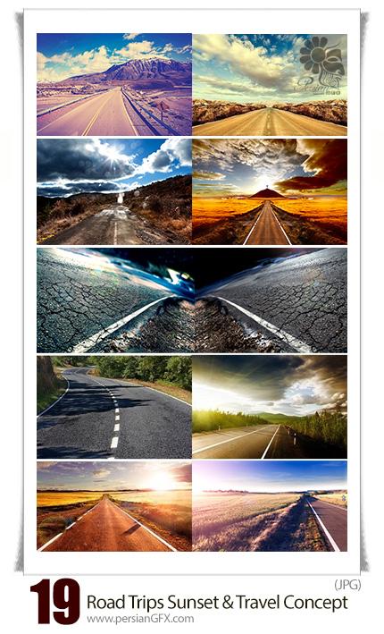 دانلود تصاویر با کیفیت مفهومی از جاده های سفر و غروب آفتاب جاده ها - Adventures And Road Trips Sunset And Travel Concept