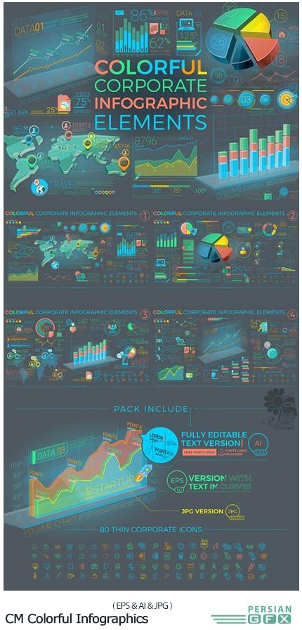 دانلود مجموعه تصاویر وکتور نمودارهای اینفوگرافیکی رنگارنگ - CM Colorful Corporate Infographics