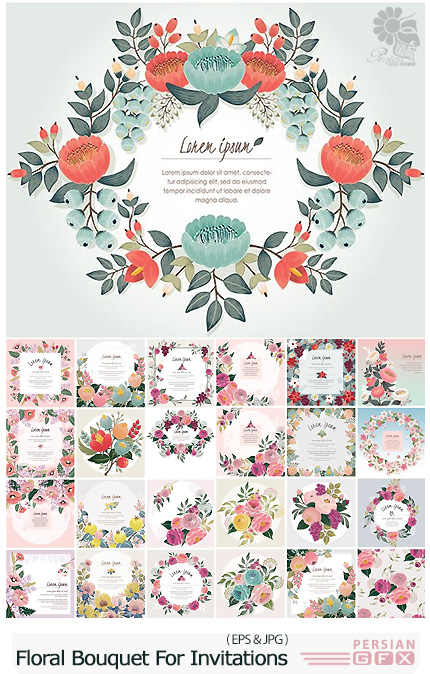 دانلود تصاویر وکتور قالب آماده کارت دعوت های گلدار تزئینی - Beautiful Floral Bouquet With Spring Flowers For Invitations