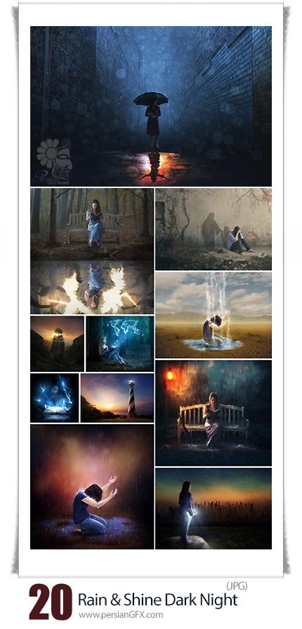 دانلود تصاویر هنری شب تاریک و بارانی با کیفیت بالا - Rain And Shine Dark Night