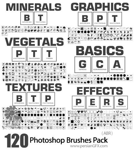 دانلود 612 براش انتزاعی، تکسچر، تکرار شونده، درخت و ... برای فتوشاپ - 612 Photoshop Brushes Pack
