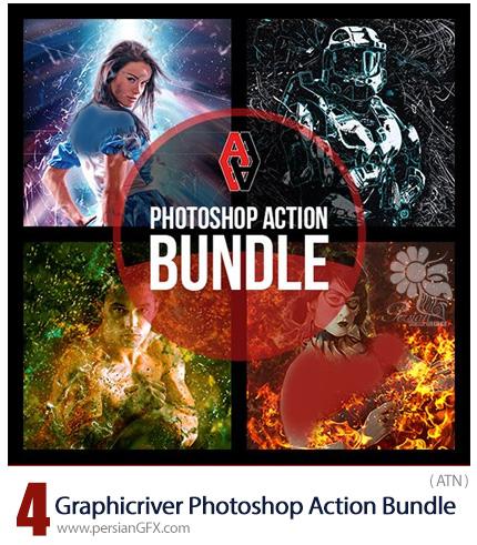 دانلود 4 اکشن فتوشاپ با افکت های متنوع انتزاعی، نقاشی خط خطی، ذرات ریز گرد و غبار و جرقه های آتش و سوزاندن از گرافیک ریور - Graphicriver Photoshop Action Bundle