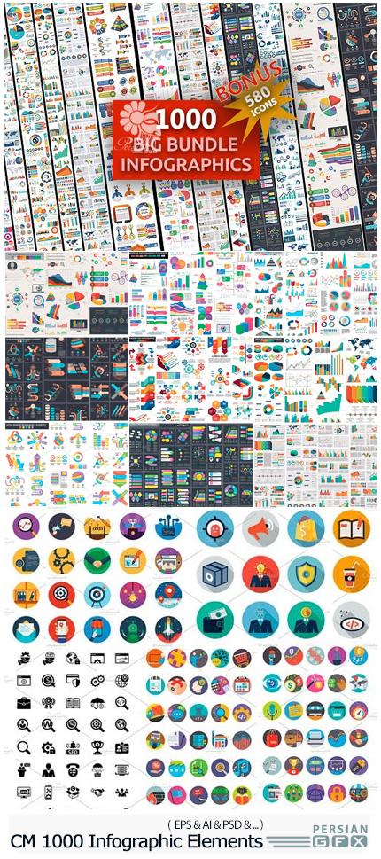 دانلود 1000 تصویر وکتور عناصر نمودار های اینفوگرافیکی به همراه آیکون های متنوع - CM 1000 Big Bundle Infographic Elements