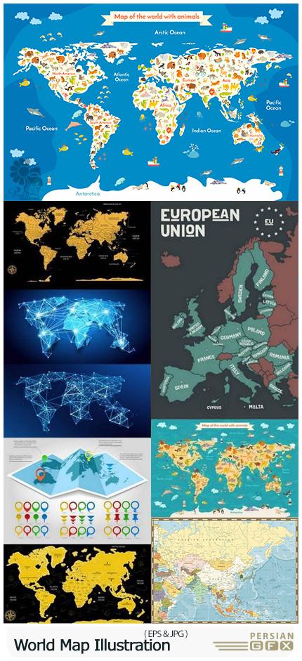 دانلود تصاویر وکتور قالب آماده نقشه جهان با طرح های متنوع - World Map Illustration