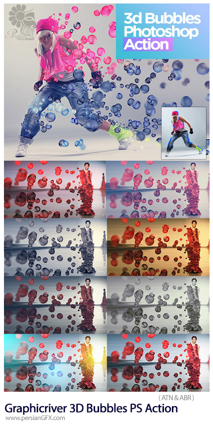 دانلود اکشن فتوشاپ ایجاد افکت حباب های سه بعدی پراکنده بر روی تصاویر به همراه آموزش ویدئویی از گرافیک ریور - Graphicriver 3D Bubbles Photoshop Action