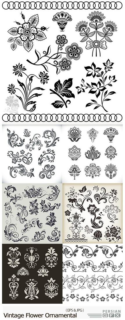 دانلود تصاویر وکتور عناصر تزئینی گلدار، بت و جقه، قاب و حاشیه و ... - Vintage Decorative Flower Ornamental Elegant Design Element