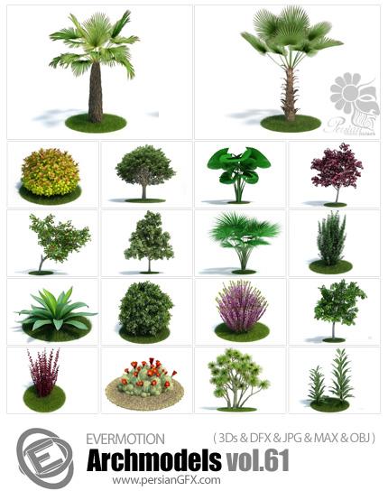دانلود مدل های آماده سه بعدی آرچ مدل - آبجکت آماده از انواع گیاه طبیعی و واقعی باغ، بوته، گیاه وحشی، گلدان ... - شماره 61 - Archmodels 61