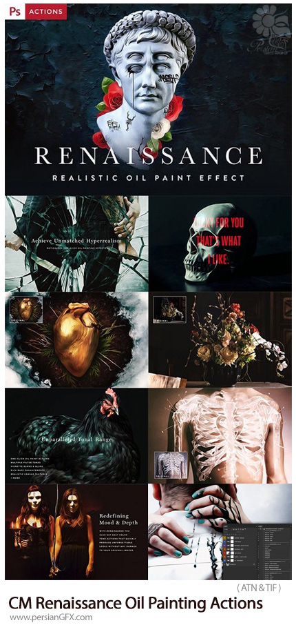 دانلود اکشن فتوشاپ تبدیل تصاویر به نقاشی رنگ روغن رنسانس - CM Renaissance Oil Painting Actions