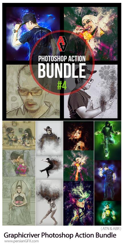 دانلود مجموعه اکشن فتوشاپ با 4 افکت متنوع طرح اولیه نقاشی، ذرات پراکنده آتشین، خطوط نورانی و انتزاعی از گرافیک ریور - Graphicriver Photoshop Action Bundle