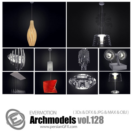 دانلود مدل های آماده سه بعدی آرچ مدل - آبجکت آماده از مدل های متنوع لوستر، چراغ، آویز مدرن و آباژور شیشه ای... - شماره 128 - Archmodels 128
