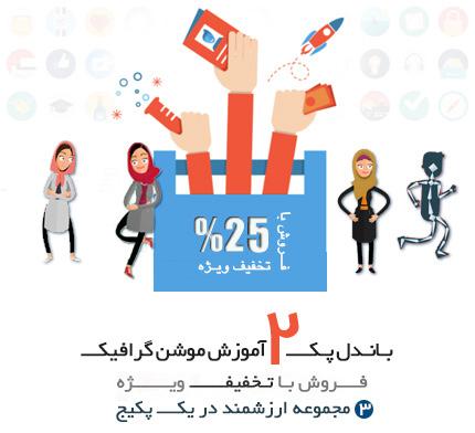 باندل پک دوم آموزش و ابزار طراحی موشن گرافیک و انیمیشن های دو بعدی در افترافکت به زبان فارسی