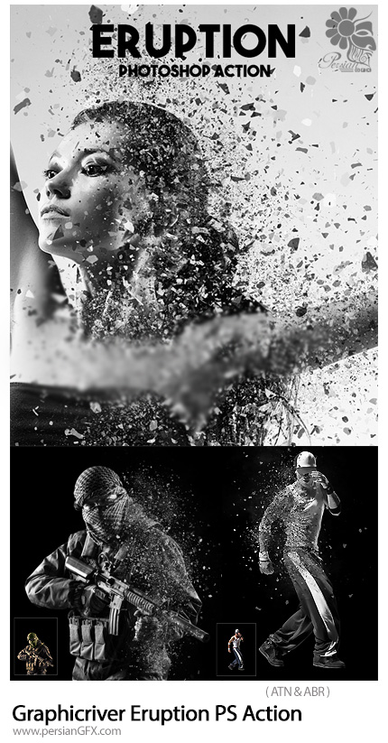 دانلود اکشن فتوشاپ ایجاد افکت ذرات ریز پراکنده بر روی تصاویر از گرافیک ریور - Graphicriver Eruption Photoshop Action