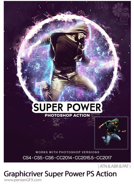 دانلود اکشن فتوشاپ ایجاد افکت انتزاعی حلقه قدرت بر روی تصاویر از گرافیک ریور - Graphicriver Super Power Photoshop Action