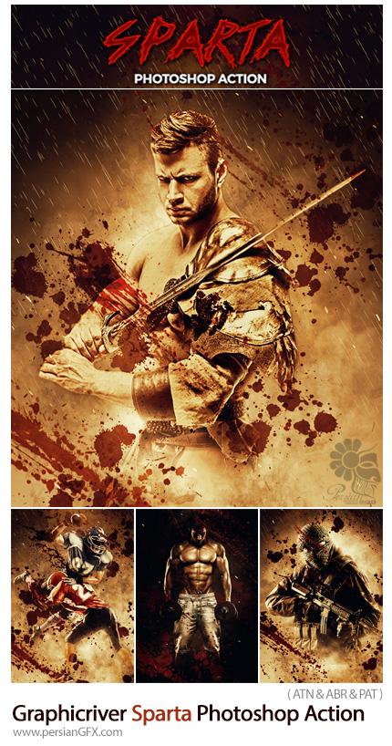 دانلود اکشن فتوشاپ ایجاد افکت جنگی اسپارتا بر روی تصاویر از گرافیک ریور - Graphicriver Sparta Photoshop Action