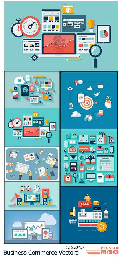 دانلود تصاویر وکتور قالب آماده بنر تجارت الکترونیک - Business Commerce Vectors