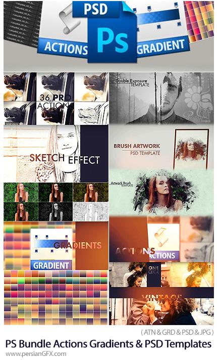 دانلود مجموعه ابزار فتوشاپ اکشن، گرادینت و قالب لایه باز افکت تصاویر - Awesome Photoshop Bundle Actions Gradients And PSD Templates