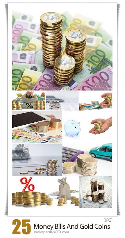 دانلود تصاویر با کیفیت صورتحساب مالی، پول و سکه - Money Bills And Gold Coins Business Concept