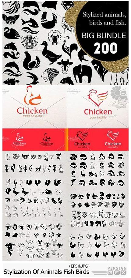 دانلود تصاویر وکتور عناصر طراحی لوگوی حیوانات، پرنده، ماهی و ... - CM Stylization Of Animals, Fish, Birds