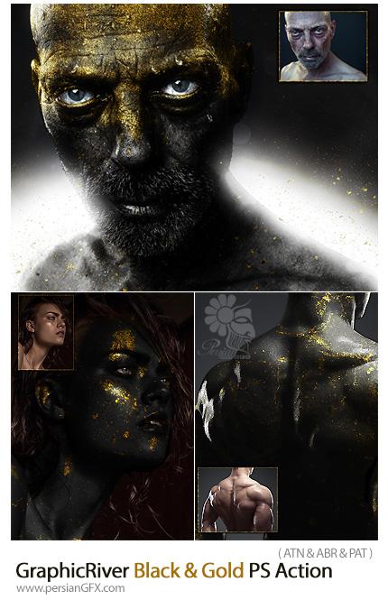 دانلود اکشن فتوشاپ ایجاد افکت مشکی و طلایی به همراه آموزش ویدئویی از گرافیک ریور - GraphicRiver Black And Gold Photoshop Action