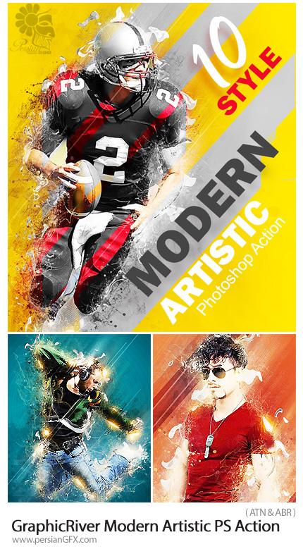 دانلود اکشن فتوشاپ ایجاد افکت هنری مدرن بر روی تصاویر از گرافیک ریور - GraphicRiver Modern Artistic Photoshop Action