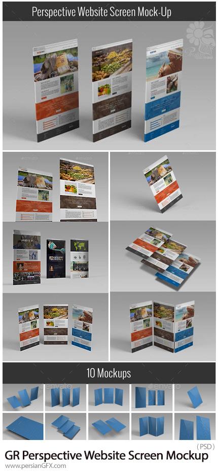 دانلود 10 موکاپ لایه باز پرسپکتیو صفحه نمایش وب از گرافیک ریور - Graphicriver Perspective Website Screen Mock-Up