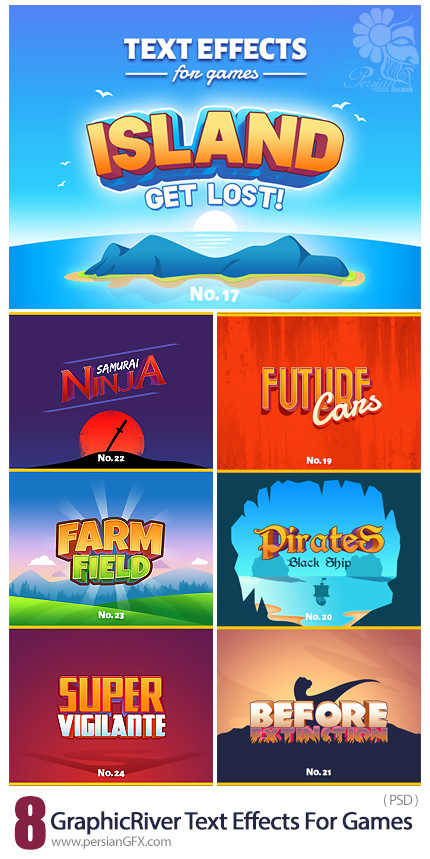 دانلود افکت های لایه باز متن بازی از گرافیک ریور - GraphicRiver Text Effects For Games
