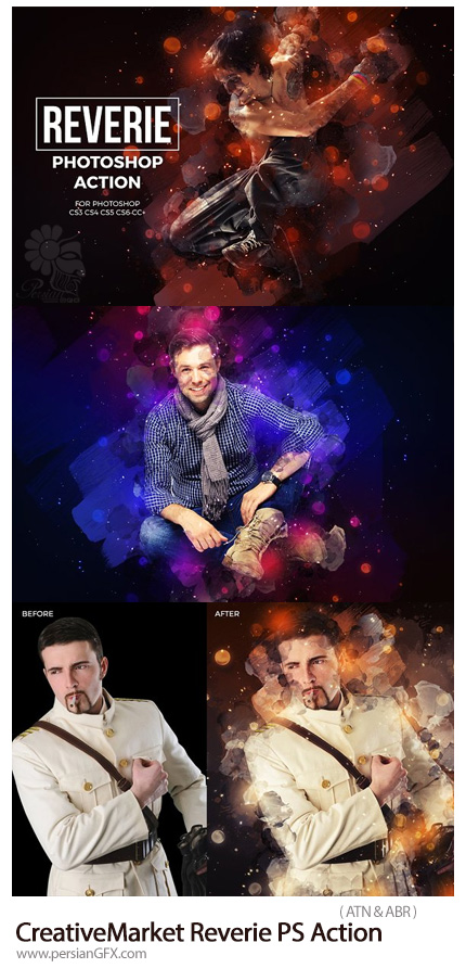 دانلود اکشن فتوشاپ ایجاد افکت بک گراند آبرنگی و بوکه های رنگارنگ بر روی تصاویر - CreativeMarket Reverie Photoshop Action