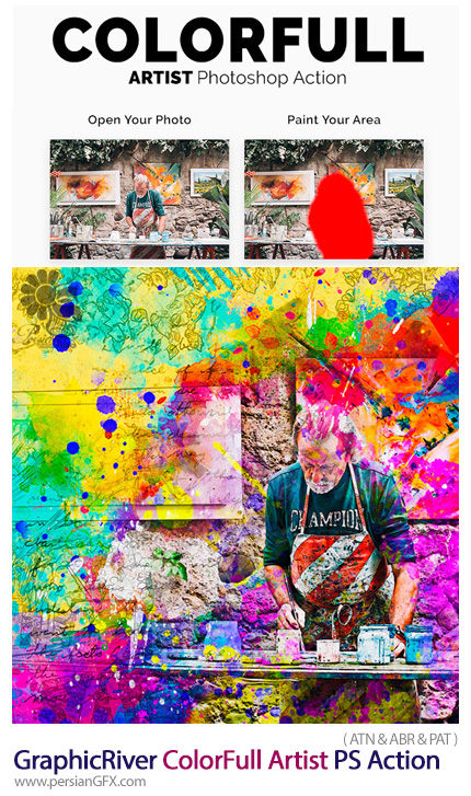 دانلود اکشن فتوشاپ ایجاد افکت هنری قطرات رنگی پاشیده شده بر روی تصاویر از گرافیک ریور - GraphicRiver ColorFull Artist Photoshop Action