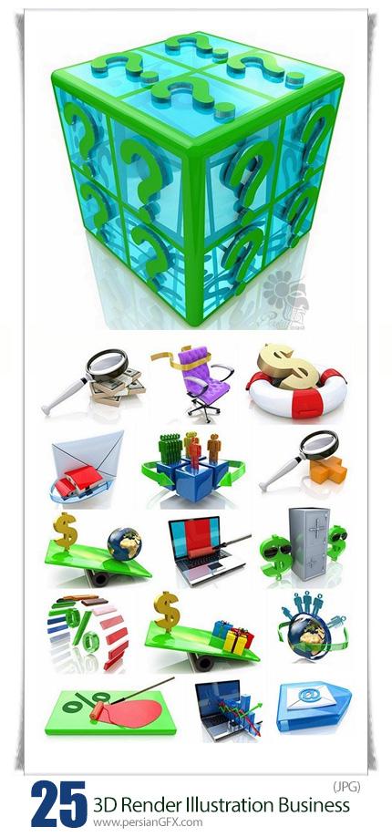 دانلود تصاویر با کیفیت سه بعدی تجاری، نمودار، تخفیف، دلار، گاو صندوق و ... - 3D Render Illustration Business