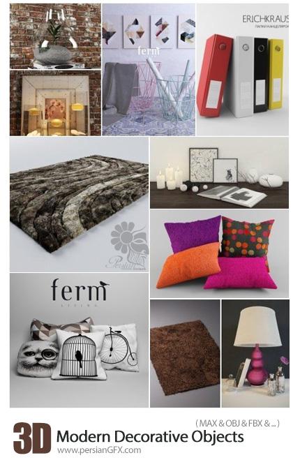 دانلود 30 مدل آماده سه بعدی وسایل تزئینی برای طراحی داخلی، فرش، گلدان، چراغ، ساعت و ... - Modern Decorative 3D Objects 3D Model Of Interior Decor