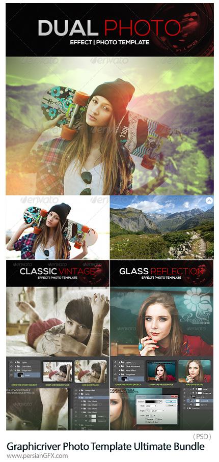 دانلود مجموعه قالب لایه باز فتوشاپ ترکیب تصاویر، ایجاد انعکاس تصاویر بر روی شیشه و ایجاد افکت قدیمی بر روی تصاویر از گرافیک ریور - Graphicriver Photo