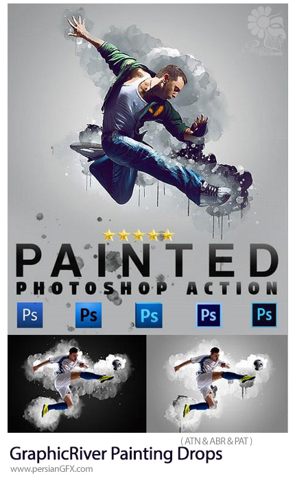 دانلود اکشن فتوشاپ تبدیل تصاویر به نقاشی با قطرات آبرنگ از گرافیک ریور - GraphicRiver Painting Drops