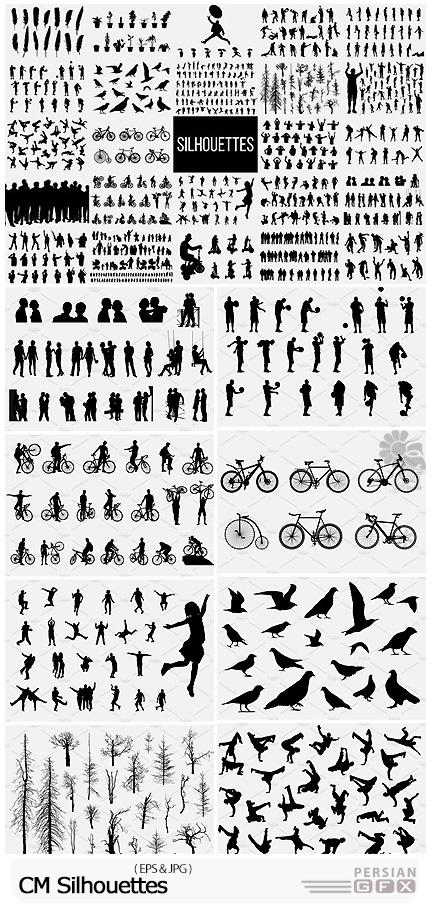 دانلود تصاویر وکتور سایه با موضوعات مختلف دوچرخه، پرندگان، درخت، کودکان و ... - CM Silhouettes