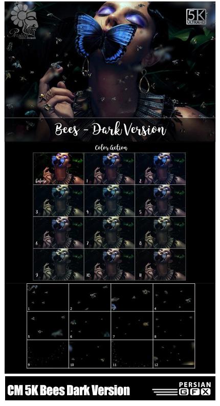 دانلود تصاویر کلیپ آرت افکت زنبورهای پراکنده بر روی تصاویر با کیفیت 5K - CreativeMarket 5K Bees Dark Version