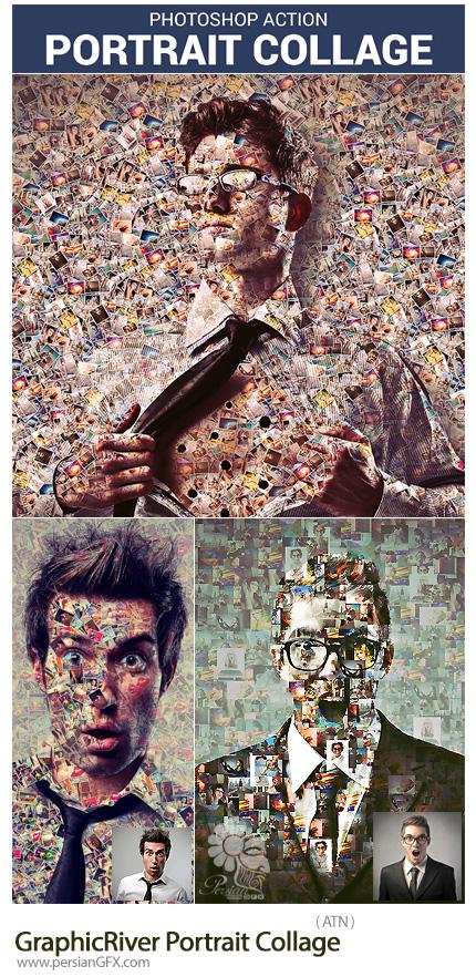 دانلود اکشن فتوشاپ ساخت تصاویر کلاژ به همراه آموزش ویدئویی از گرافیک ریور - GraphicRiver Portrait Collage