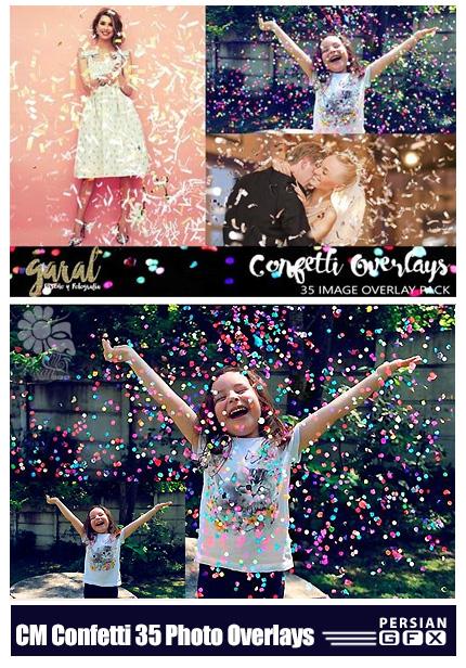 دانلود 35 تصویر کلیپ آرت افکت تزئینی خرده کاغذ رنگی پخش شده - CM Confetti Overlays 35 Photo Overlays