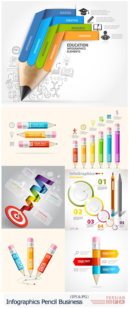 دانلود تصاویر وکتور نمودارهای اینفوگرافیکی مداد - Infographics Pencil Modern Business Elements Collection