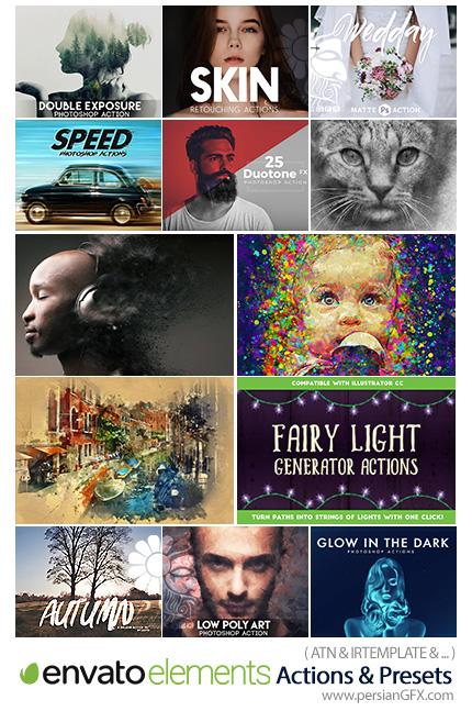 دانلود مجموعه اکشن و لایتروم فتوشاپ با افکت های متنوع تصاویر - Envato Elements Actions And Presets