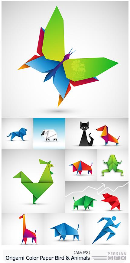 دانلود تصاویر وکتور کاغذ رنگی اوریگامی با طرح حیوانات و پرندگان - Origami From Color Paper Bird And Animals Design
