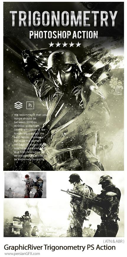 دانلود اکشن فتوشاپ ساخت پوستر جنگی با افکت سیاه و سفید از گرافیک ریور - GraphicRiver Trigonometry Photoshop Action
