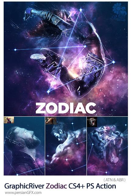 دانلود اکشن فتوشاپ ایجاد افکت نجومی زودیاک بر روی تصاویر به همراه آموزش ویدئویی از گرافیک ریور - GraphicRiver Zodiac CS4+ Photoshop Action