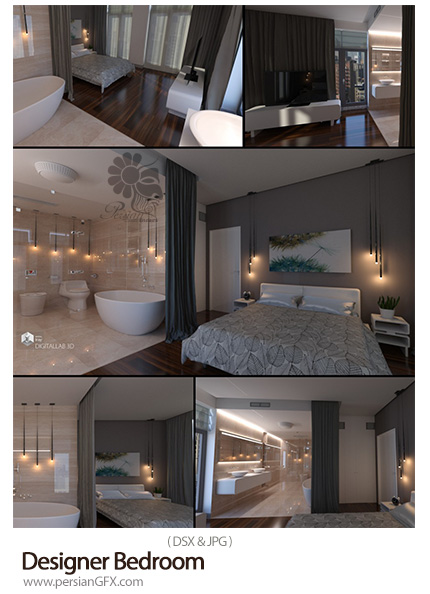 دانلود مدل سه بعدی آماده طراحی داخلی اتاق خواب - Designer Bedroom