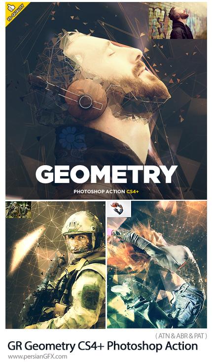 دانلود اکشن فتوشاپ ایجاد افکت خطوط هندسی بر روی تصاویر به همراه آموزش ویدئویی از گرافیک ریور - GraphicRiver Geometry CS4+ Photoshop Action